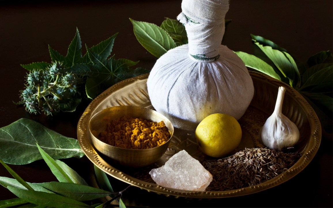 ayurvedic herbs and remedies on a platter