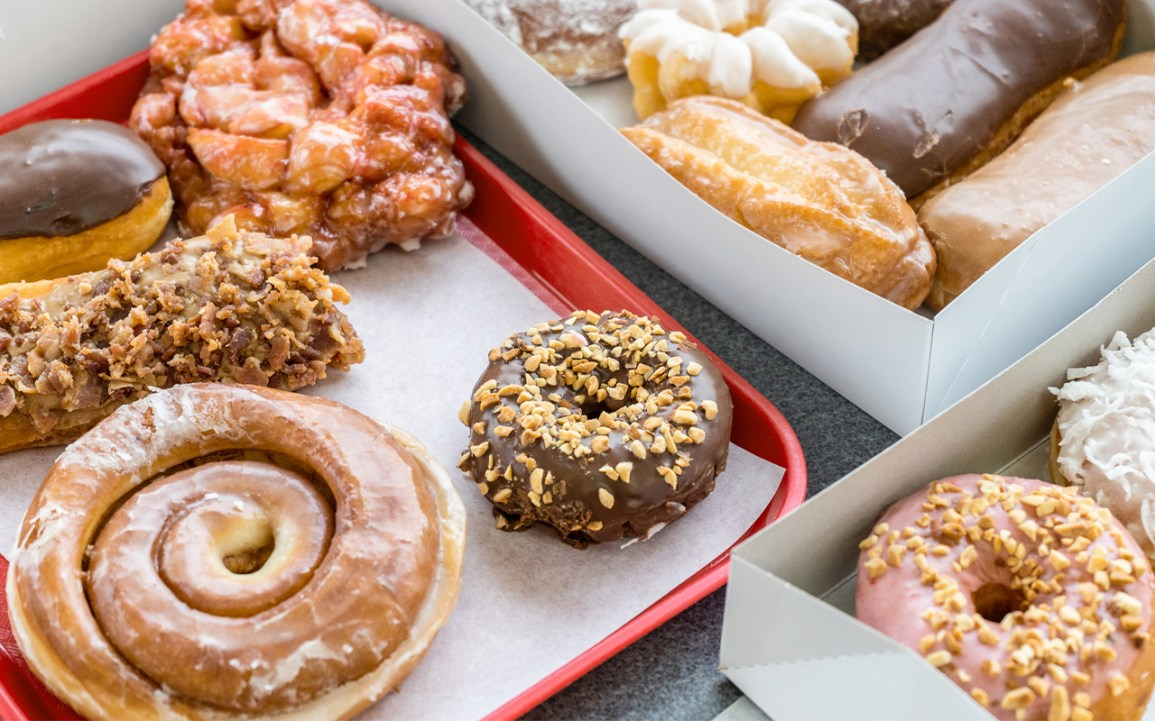 a selection of glazed doughnuts