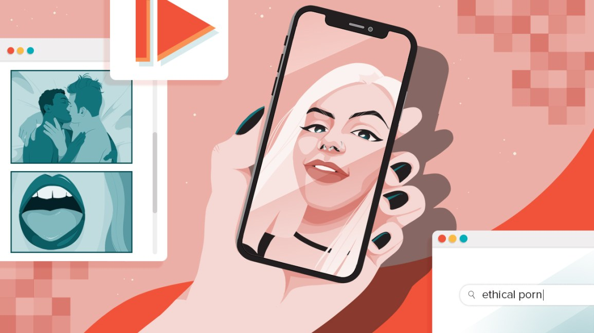 "abstract illustration of a fair-skinned hand with black fingernails holding a phone, their face reflecting in the screen. web pages hover around the the phone and display, from top left to top bottom, a red play button, a blue toned image of two people kissing, and a blue toned image of an open mouth; and on the bottom right, a search for ""ethical porn"""