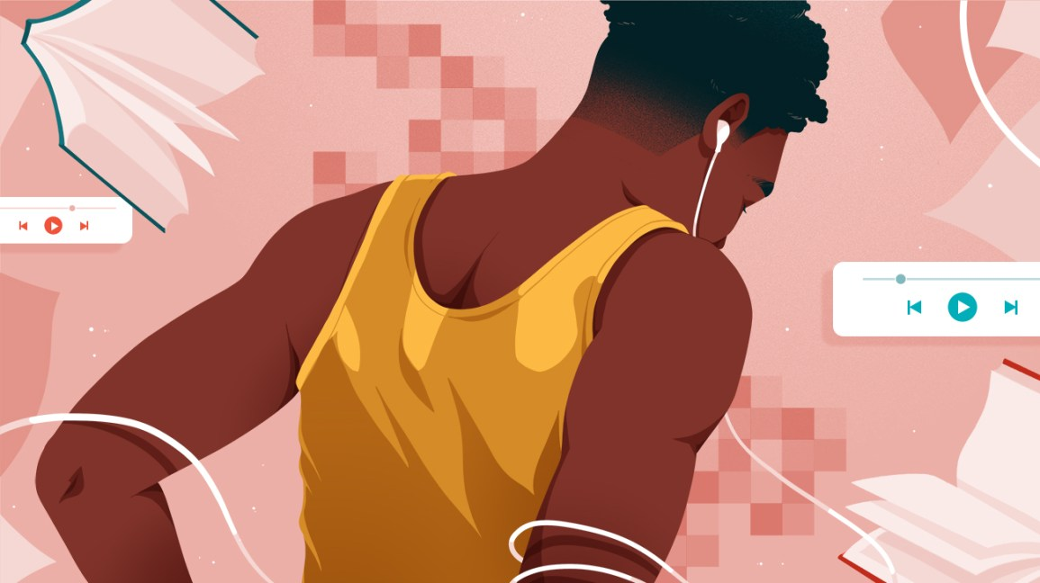 rearview illustration of a person wearing a bright yellow tank top and white earbuds running while listening to erotic audio