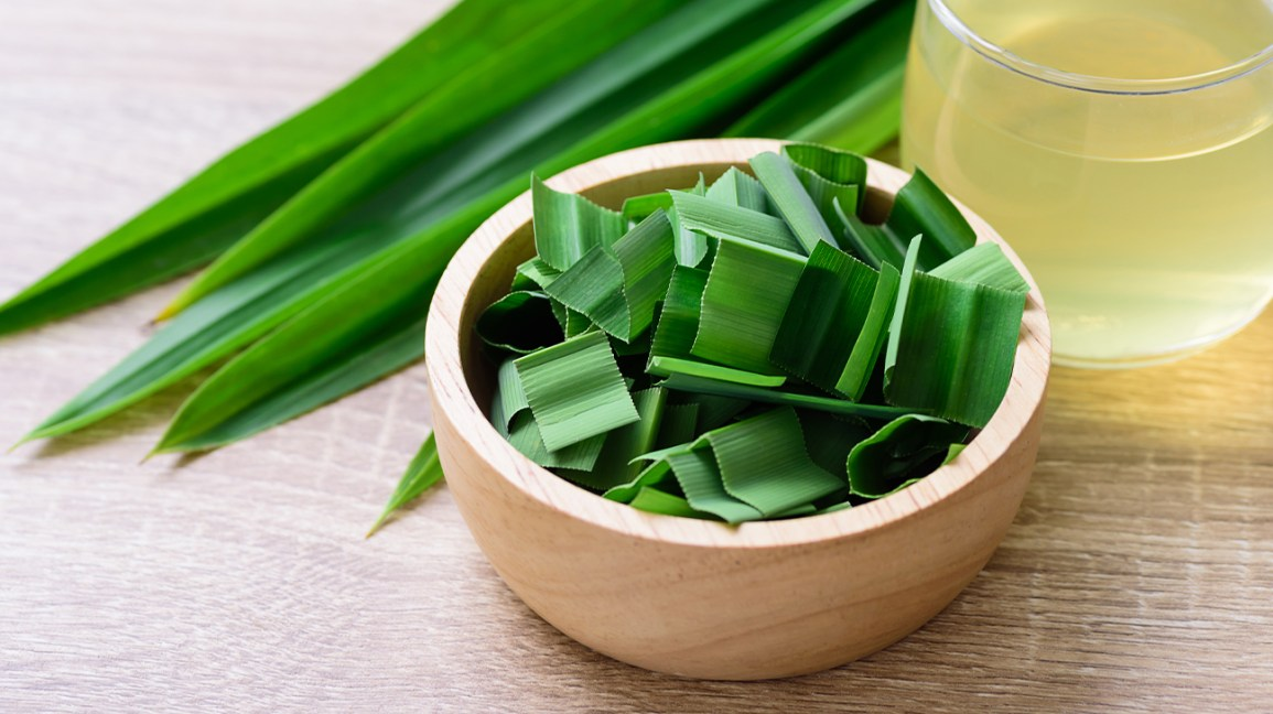fresh pandan leaves chopped in a bowl