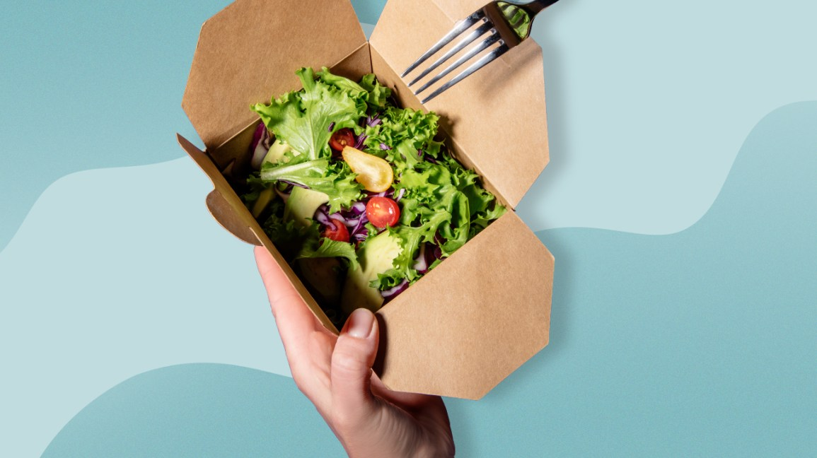 salad in a meal delivery box
