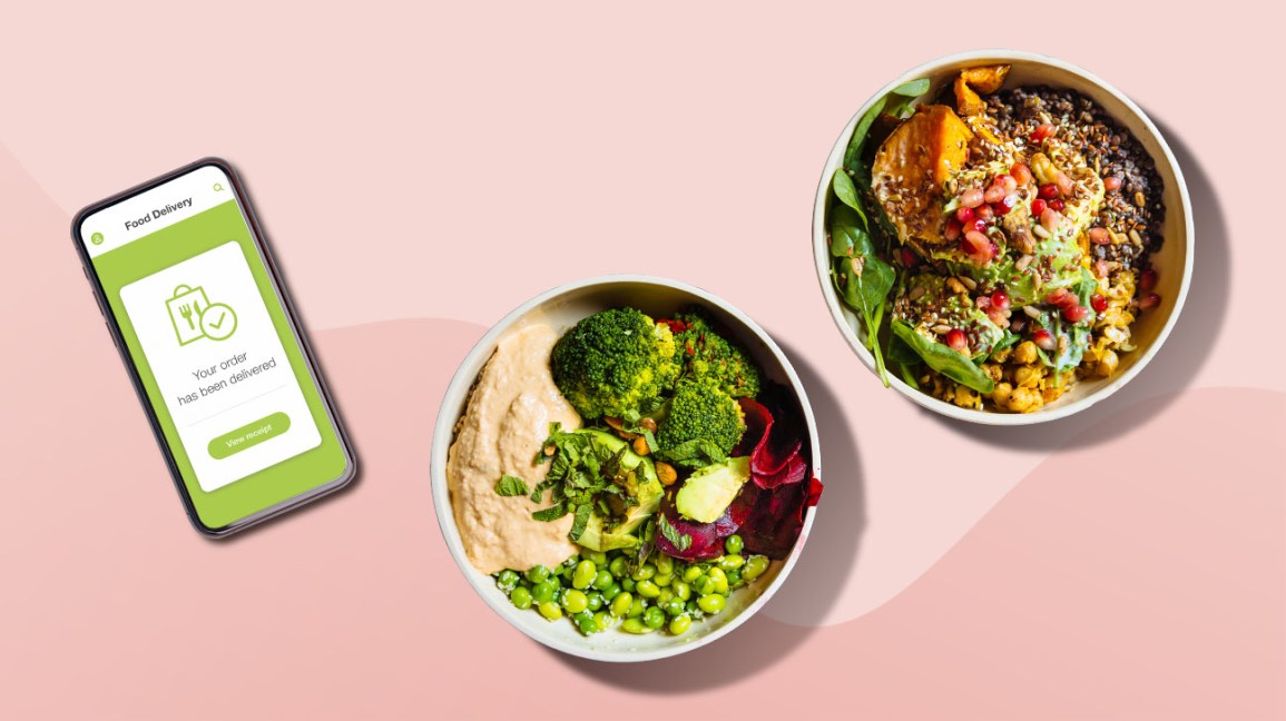 plant-based meals ordered from an app