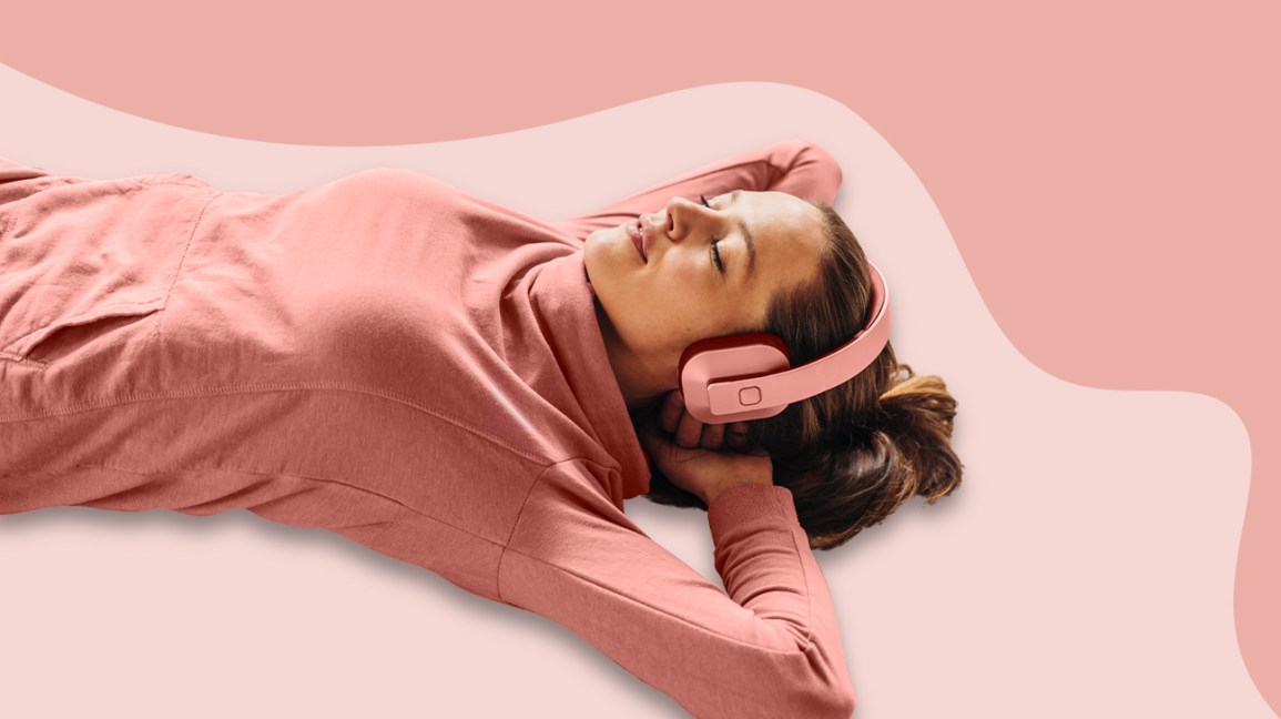 person sleeping with headphones on