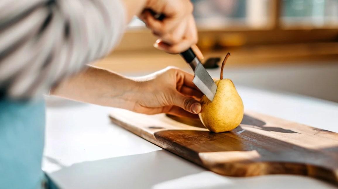 Cutting a pear