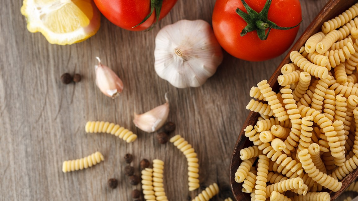 Ingredients for an Italian pasta salad