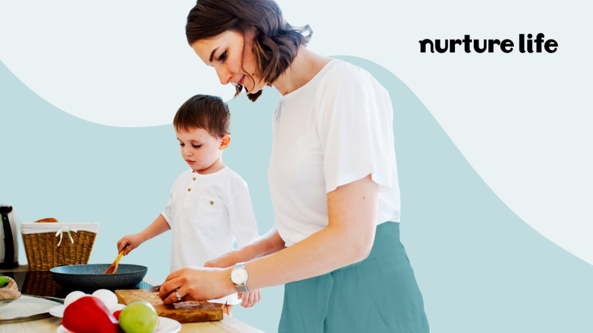 woman cooking with child and Nurture Life logo