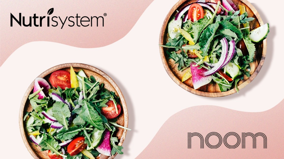 Noom and Nutrisystem logos and plates of salad
