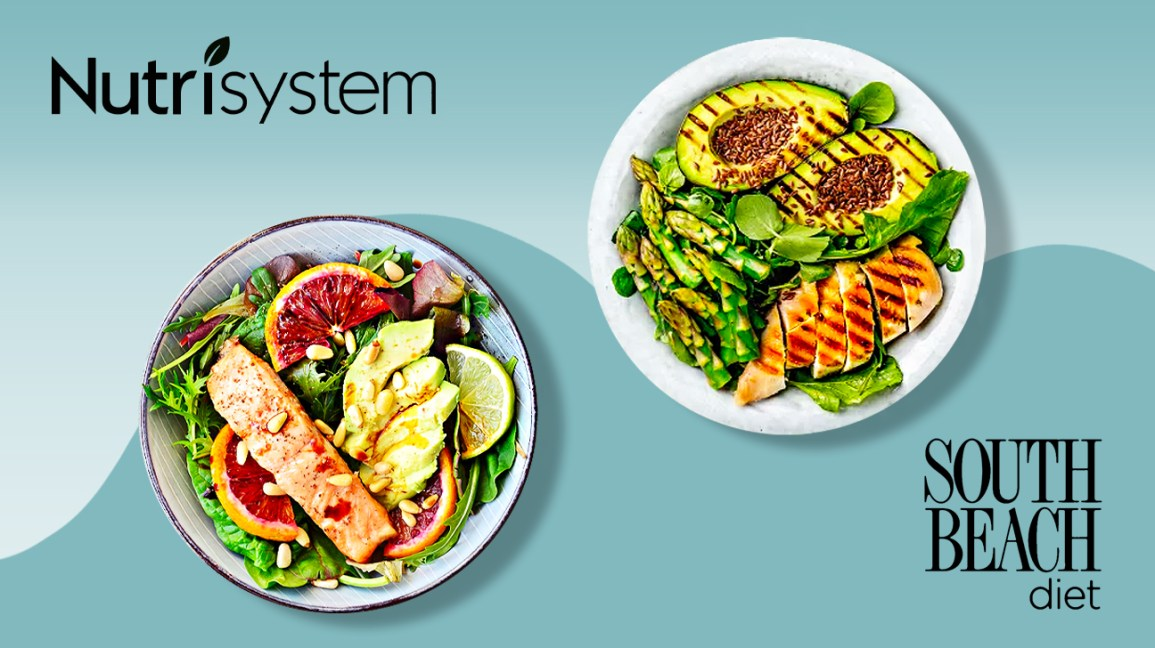 Nutrisystem and South Beach Diet logos and plates of food