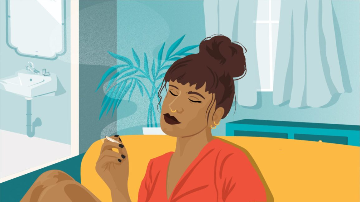 illustration of woman smoking joint on couch
