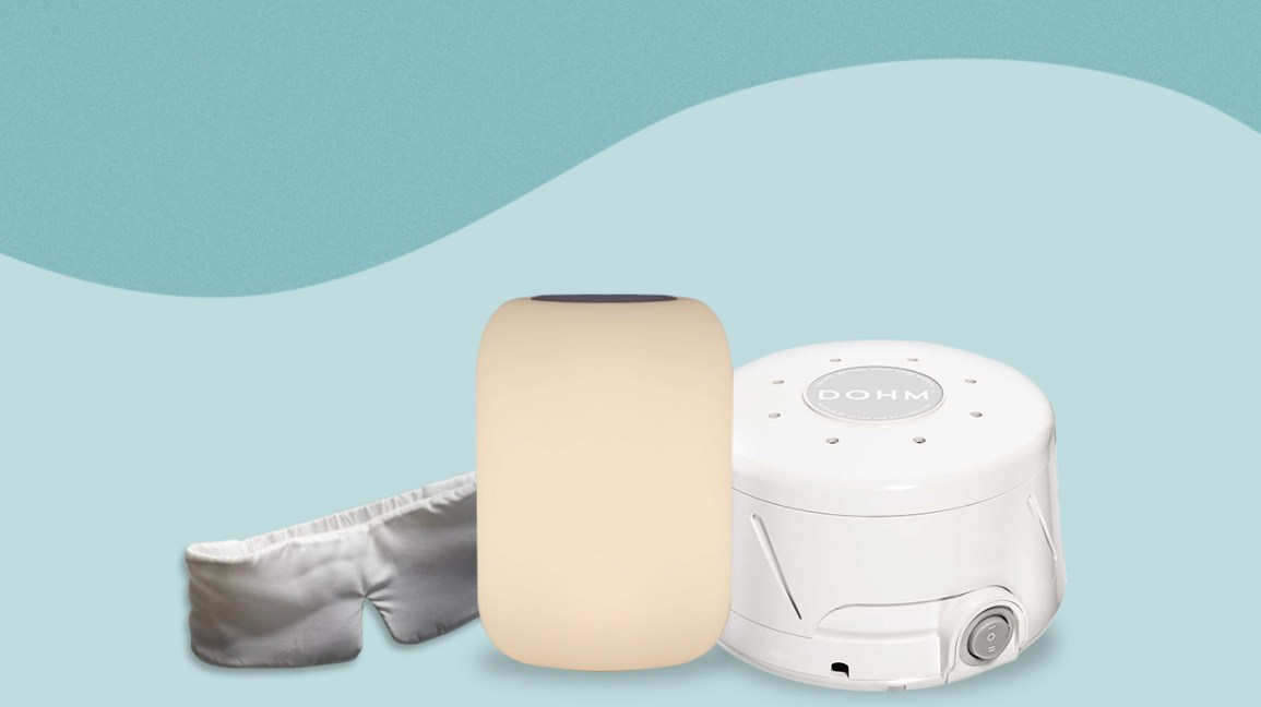 sleep mask, night light, and white noise machine