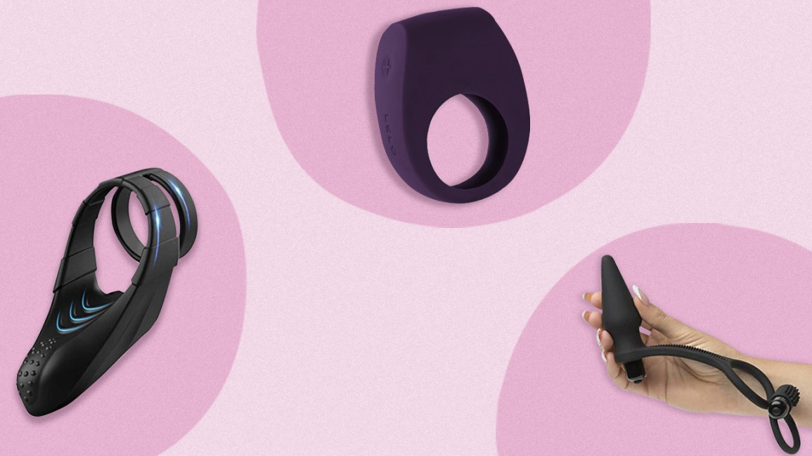 three round pink product images — including a black and blue Sohimi Vibrating Dual Penis Ring with Taint Teaser, a purple LELO TOR2 cock ring, and a black Lovehoney Wowzer 7 Function Double Cock Ring and Vibrating Butt Plug — in front of a light pink background