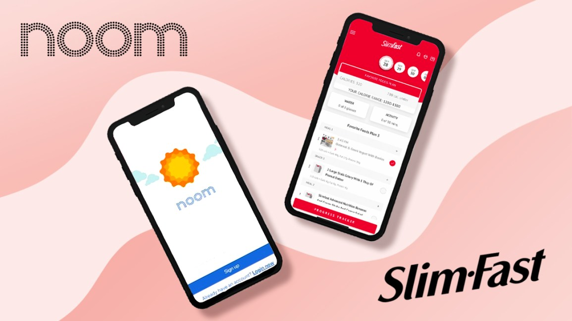 Noom and SlimFast apps and logos