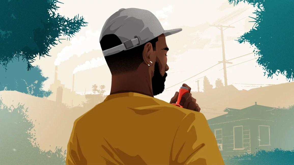 ilustração de homem com inalador olhando para o horizonte da cidade