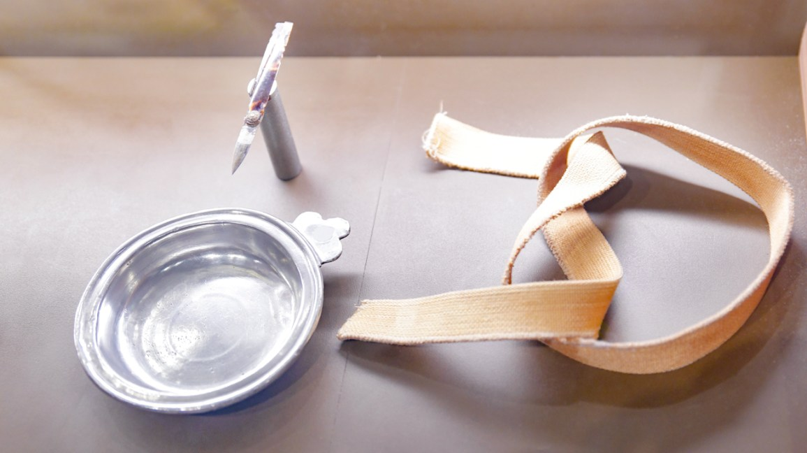 sangria, equipamento de sangria em um museu medieval hospício