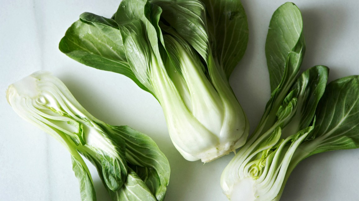 raw heads of bok choy