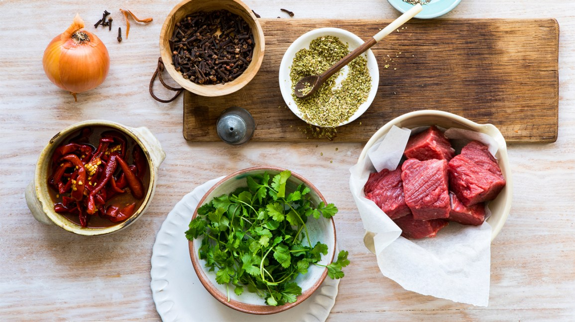 Cooking ingredients, meat, spices, greens