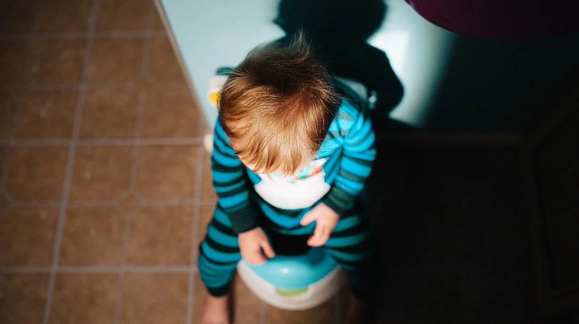 Lazımlık üzerinde oturan yürümeye başlayan çocuk