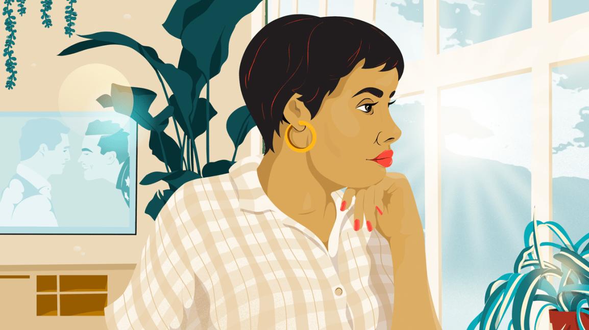 arka planda TV oynarken pencereden bakan kadın
