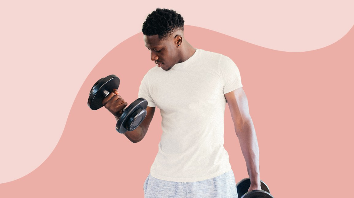 man working out with dumbbell