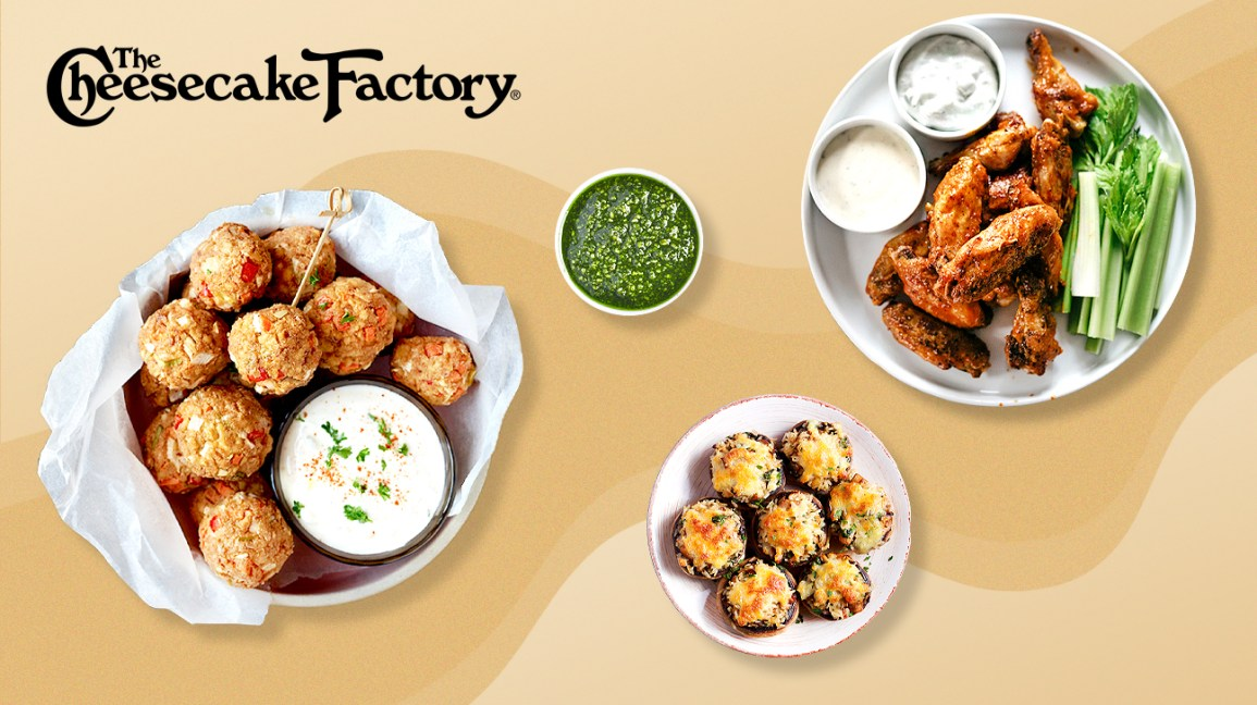 meals and snacks at the Cheesecake Factory