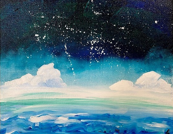A blue-hued painting of an ocean under white clouds and a dark, star-lit sky