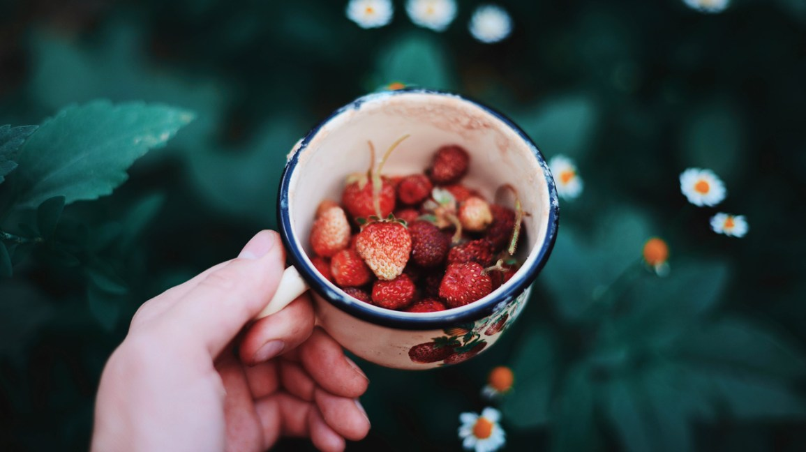clareamento de dentes de morango, xícara de morangos colhidos