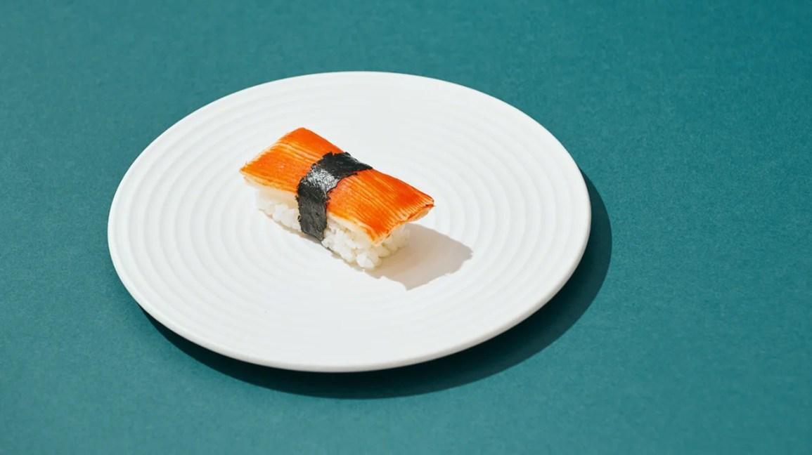 Illustrazione del singolo pezzo di sushi sulla piastra