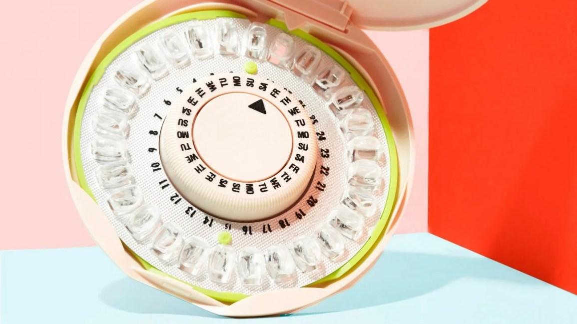 embalagem circular de pílulas anticoncepcionais