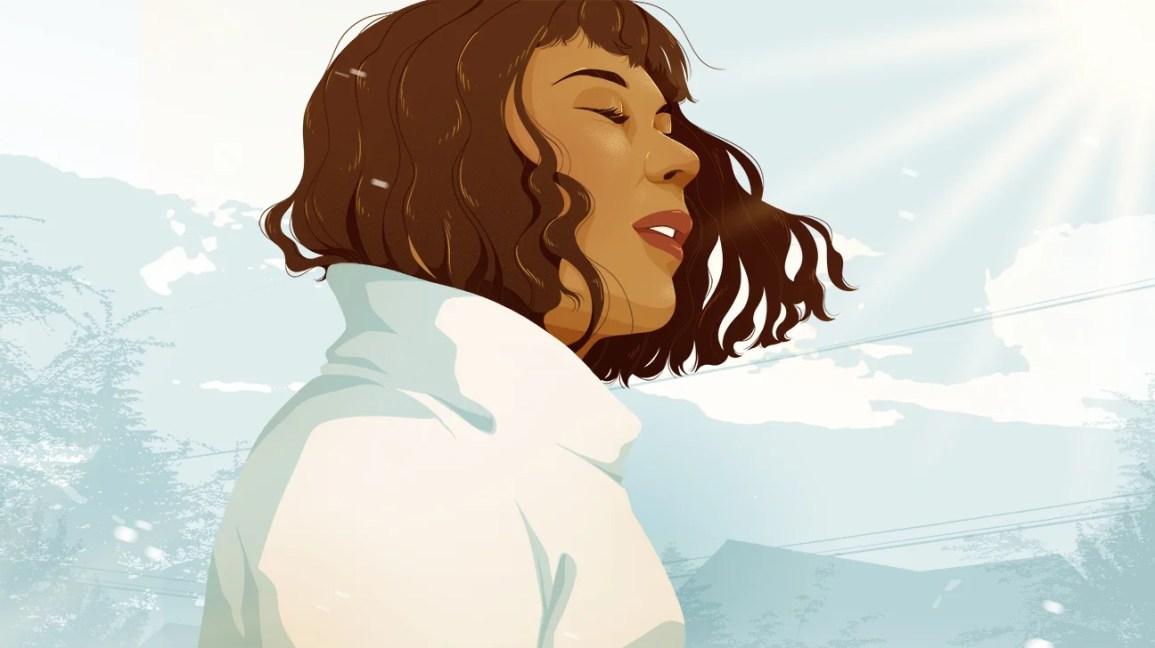 Ilustração de uma menina respirando fundo do lado de fora