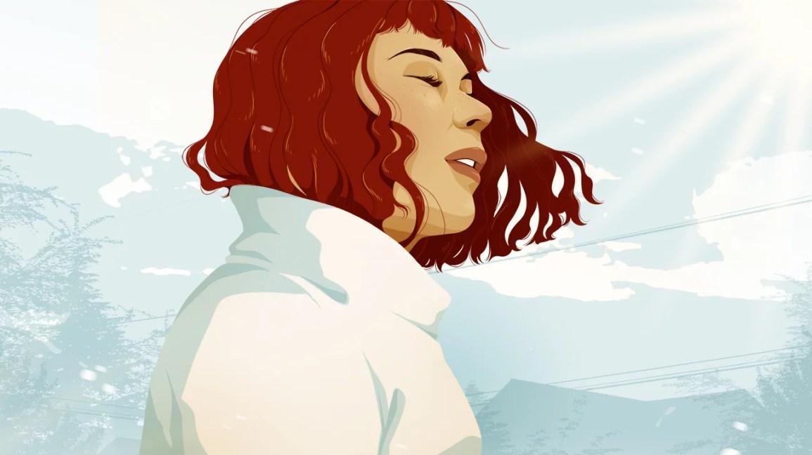 Illustrazione della ragazza che prende il respiro profondo fuori