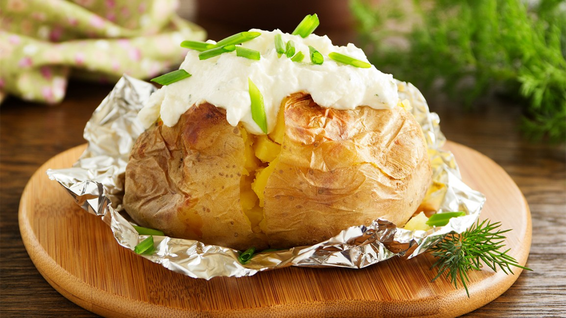 baked potato in tinfoil