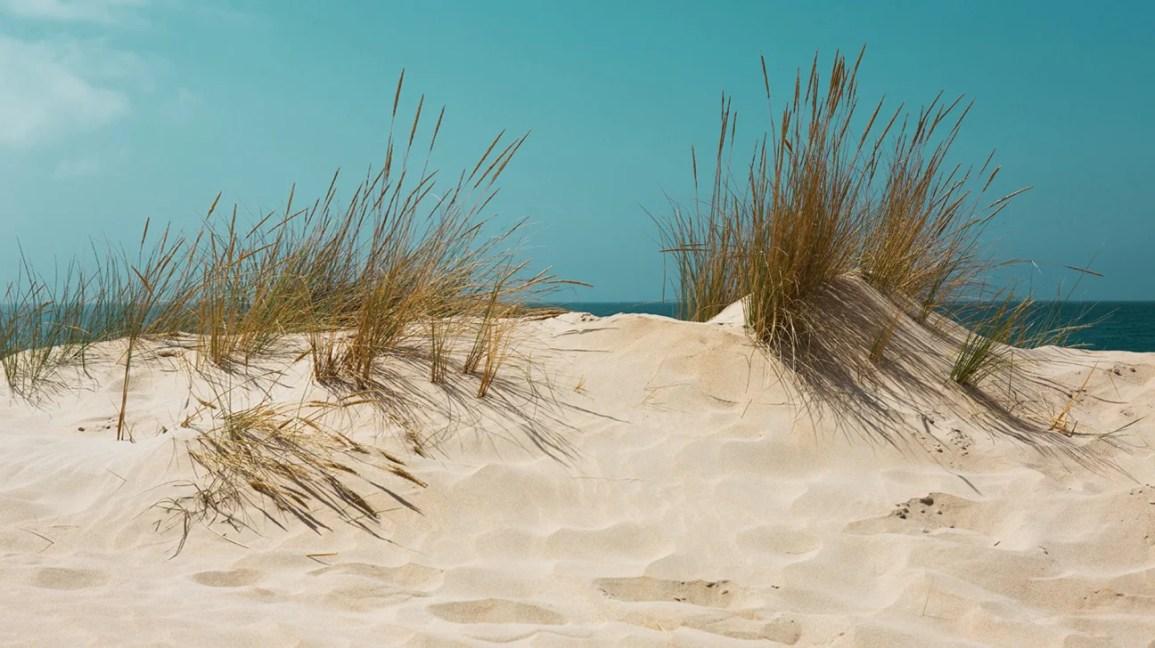 areia no olho, pequena duna de areia na praia