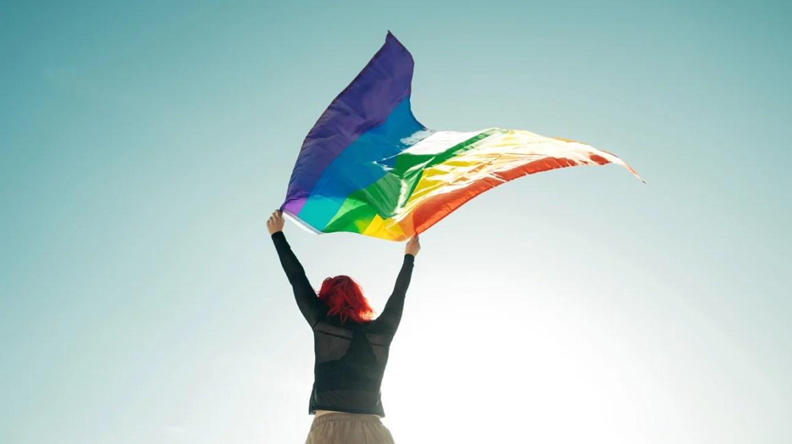 imagem da silhueta de uma pessoa segurando a bandeira do orgulho acima de sua cabeça, permitindo que ela ondulasse com o vento