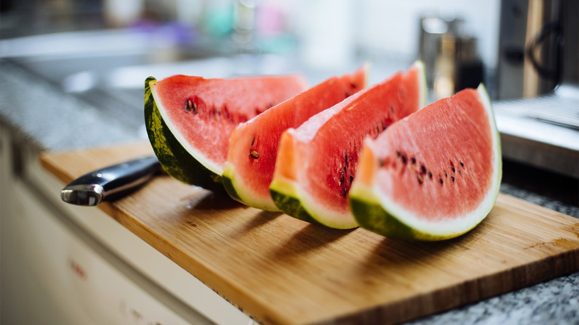 slices of watermelon on a platter