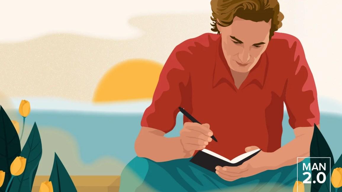 Uomo che scrive nel suo diario