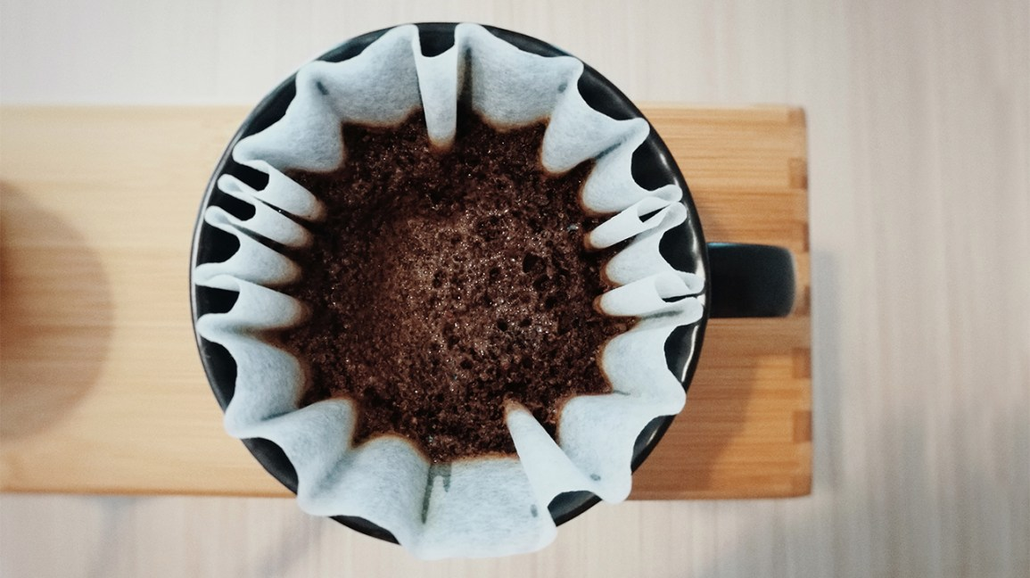coffee grounds in a filter