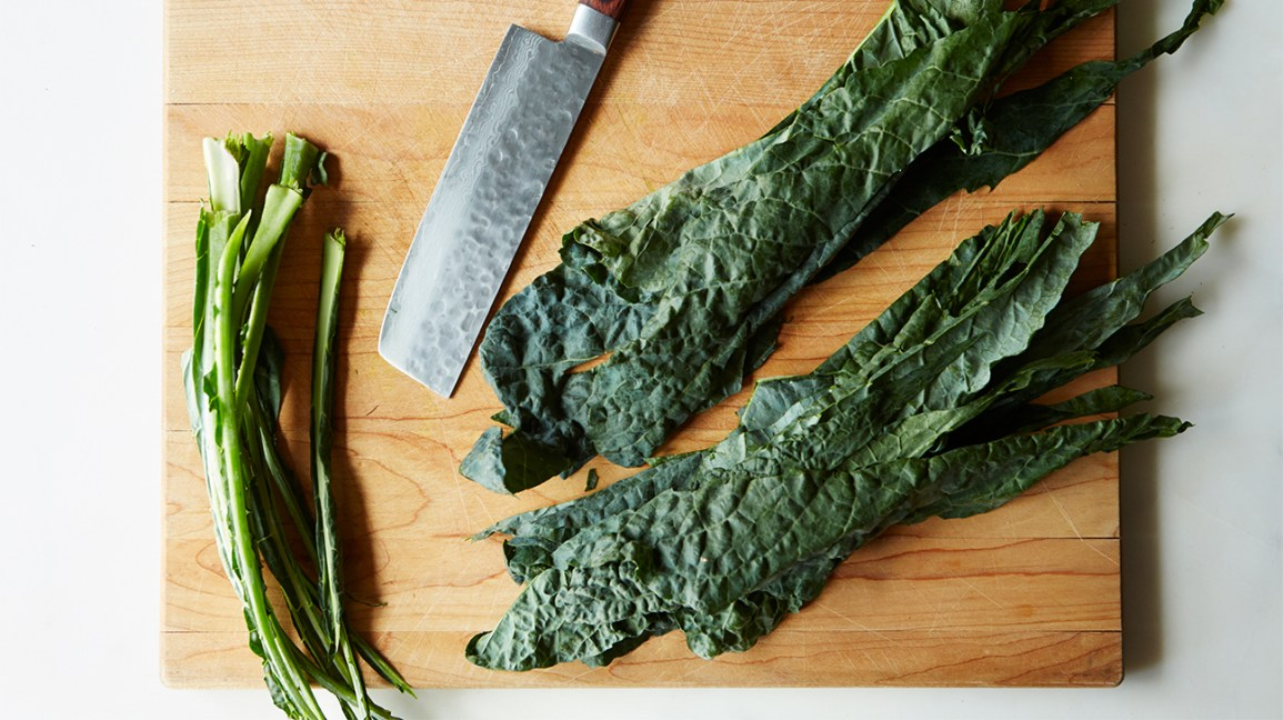 kale stems and kale leaves