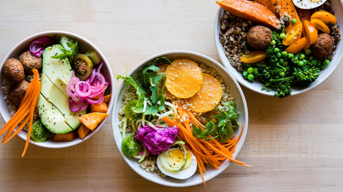 grain bowls with fresh veggies and egg