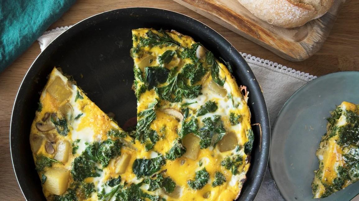 trứng tráng chay trong chảo