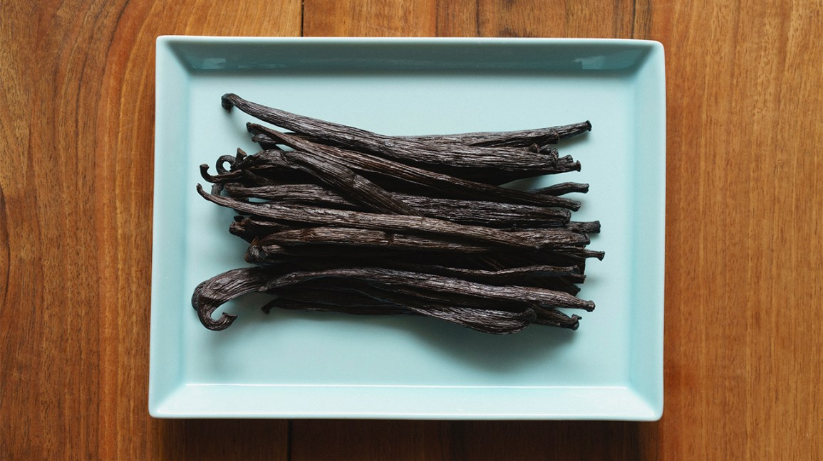 dried vanilla bean pods on a plate