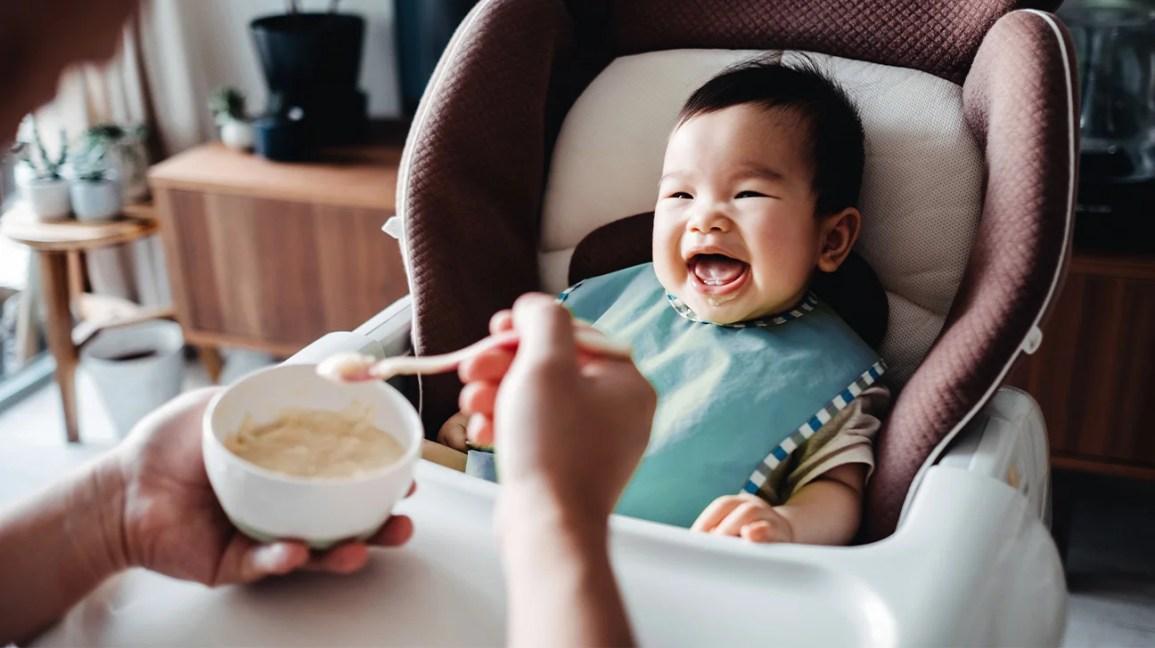 baby eating oatmeal
