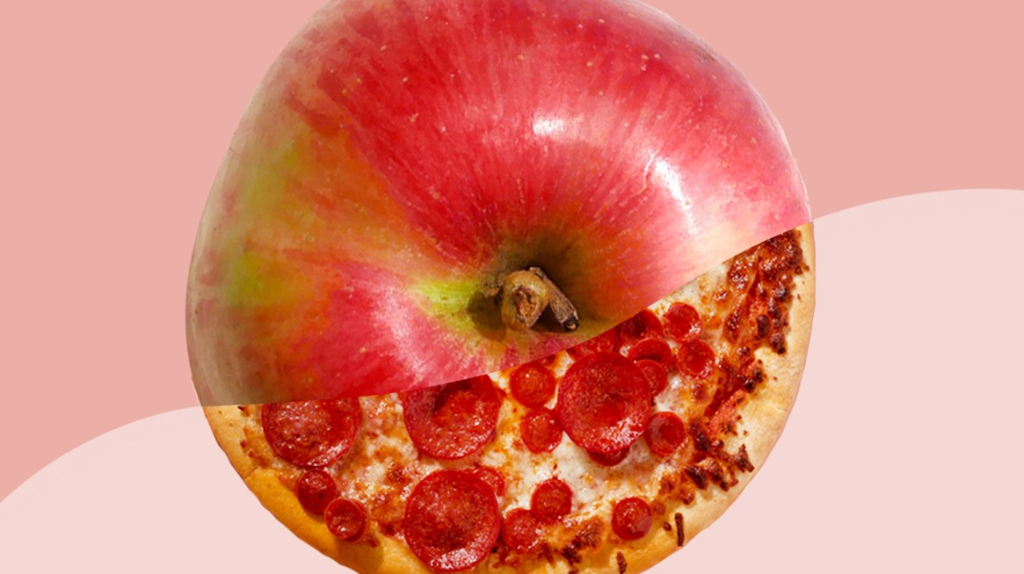 illustration of apple split between raw apple and candy-covered apple