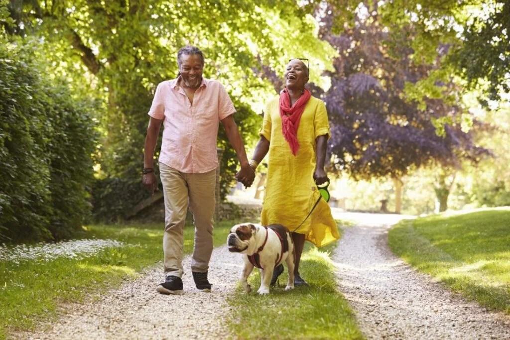 casal sênior passeando com o cachorro no campo