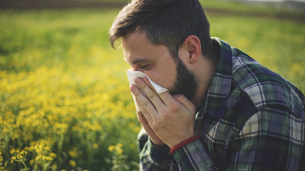 a man sneezing and could do with taking a antihistamines