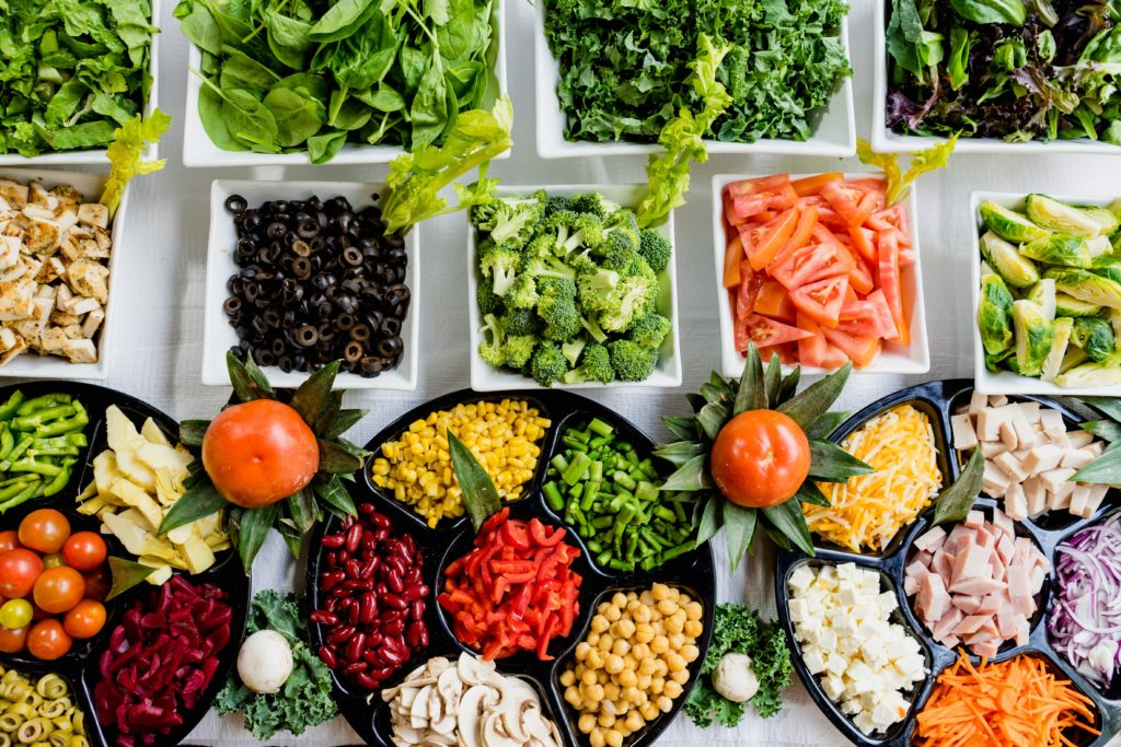 variety of vegetables and healthy foods