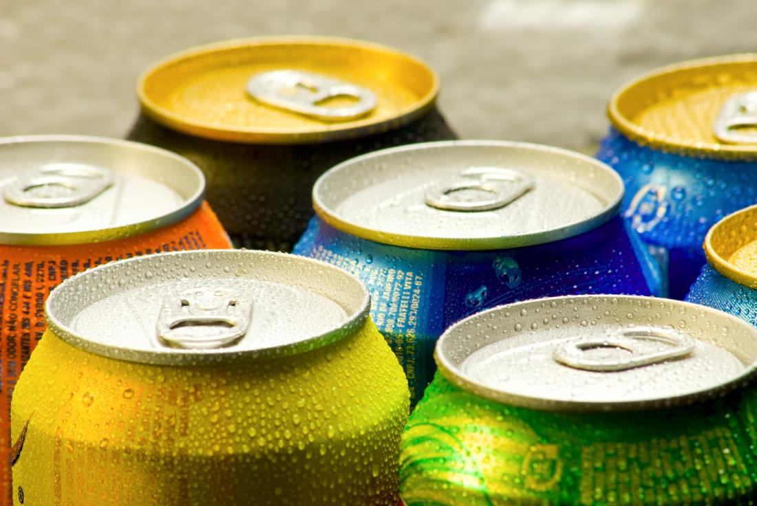 Cans of carbonated drinks
