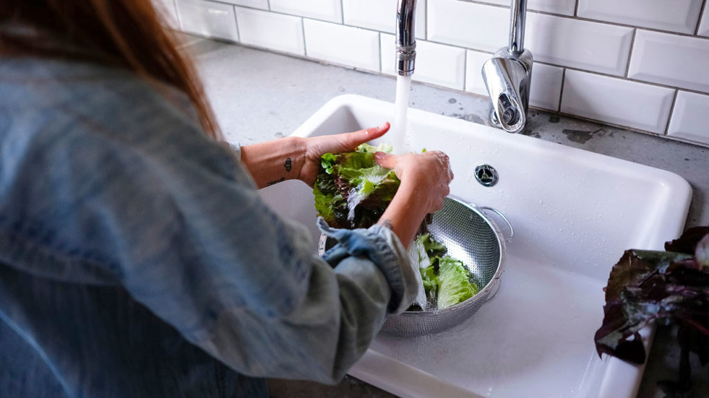 a woman washing vegetables to help stop the spread of salmonella