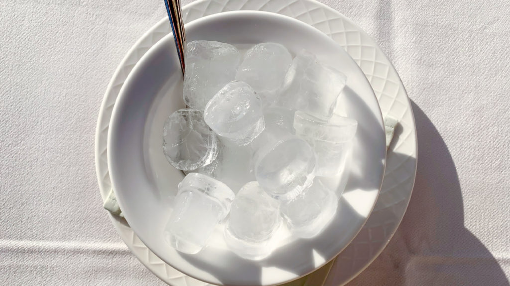 a plate of ice where if someone eats it it is considered eating ice, pica or papophagia