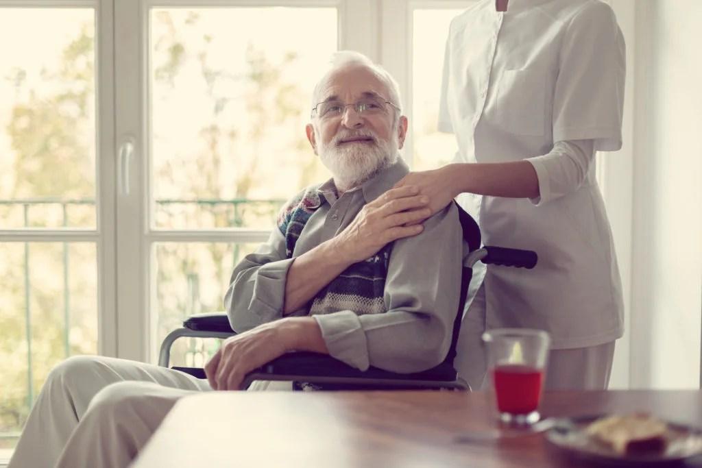Older adult with carer